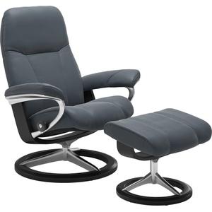 Stressless® Relaxsessel Consul (Set, Relaxsessel mit Hocker), mit Hocker, mit Signature Base, Größe L, Gestell Schwarz blau
