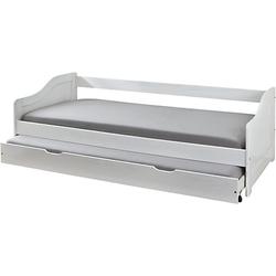 Kiefer Masivholz Sofa-Bett mit Auszug Gäste-Bett weiß Gr. 90 x 200