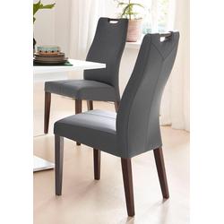 4-Fußstuhl grau Holzstühle Stühle Sitzbänke
