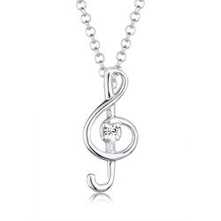 Elli Kette mit Anhänger Notenschlüssel Kristalle 925 Silber, Notenschlüssel
