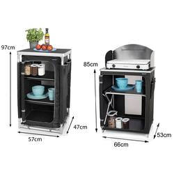 Campart Stoffschrank (2-St) Campingmöbel SET: Campingküche Campingschränke faltbar, mobile Camping Küchenbox Faltschränke – Klappschrank Küchenschrank & Outdoor-Schrank für Camper Küche Küchenblock