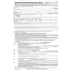 Vertrag für die Vermietung eines Hauses 8 Seiten VE=10 Stück