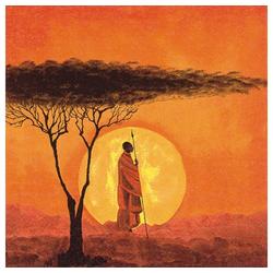 Linoows Papierserviette 20 Servietten, Afrikanischer Sonnenuntergang in, Motiv Afrikanischer Sonnenuntergang in der Savanne