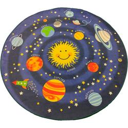 Kinderteppich Weltall, Lüttenhütt, rund, Höhe 6 mm, Spielteppich-Planeten Ø 120 cm x 6 mm