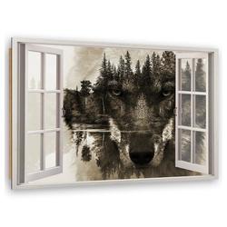 HomeLiving Deco-Panel Fenster zum Wolf, Motiv siehe Bild/Beschreibung