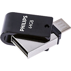 Philips USB 2.0 USB-Stick 2-in-1 64 GB Silber