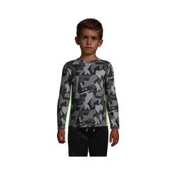 Sportliches Langarm-Shirt, Größe: 128-134, Grau, by Lands' End, Grau Geo Camouflage - 128-134 - Grau Geo Camouflage