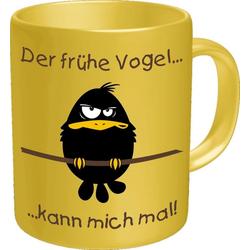 Rahmenlos Kaffeebecher mit lustigem Motiv gelb