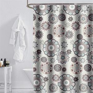 JameStyle26 Duschvorhang waschbar Vorhang Digitaldruck inkl. Vorhangringe Anti Schimmel Badezimmer Badewanne (Blume, 240 x 200 cm)