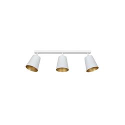 Licht-Erlebnisse Deckenstrahler BOMER Deckenstrahler Weiß Gold Metall Schirm retro Wohnzimmer Lampe