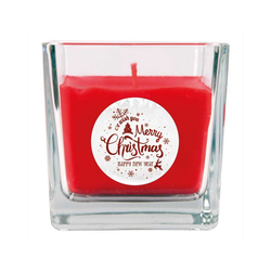 HS Candle Duftkerze (1-tlg), Weihnachten - Kerze im Glas, Kerze mit Weihnachts - Motiv, vers. Düfte / Größen rot 8 cm x 8 cm x 8 cm