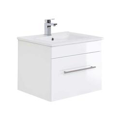 Hochglanz Waschkommode in Weiß 50 cm hoch