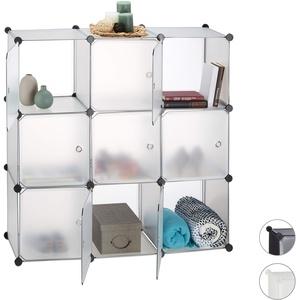 Relaxdays, transparent Steckregal Kunststoff, 9 Fächer, DIY-Regalsystem mit Türen, Würfelregal, HBT 110 x 110 x 37 cm, Standard