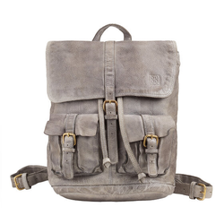 DuDu Rucksack Leder 34 cm ash gray