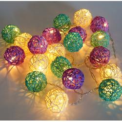 Guru-Shop LED-Lichterkette Rattan Ball LED Kugel Lampion Lichterkette..