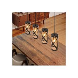 ZMH Pendelleuchte E14 Esstischlampe aus Glas und Eisen