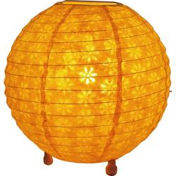 Guru-Shop Tischleuchte Corona round runde Lokta Papier Tischlampe 25 cm gelb
