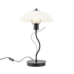 Klassische Tischlampe braun mit Opalglas - Unik