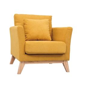Skandinavischer Sessel mit abnehmbarem Bezug in Samteffekt in Senf OSLO