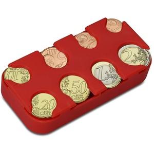 kwmobile Münzbox für Euro Münzen - 8 Fächer von 1 Cent bis 2 Euro - Münzhalter Münzsammler - Münzspender Sortierer in Rot