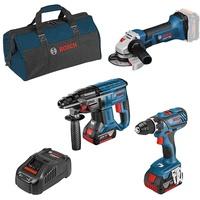 Bosch Professional 18V-Set mit 3 Werkzeugen: + GBH + GWS + 2 x GBA 5.0Ah GAL Werkzeugtasche