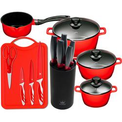 KING Topf-Set Aluguss Red (Set, 15-tlg., 4 Töpfe, 3 Deckel, 1 Messerblock, 5 Kochmesser, Messer-Set mit Schneidebrett) rot Topfsets Töpfe Haushaltswaren Topf