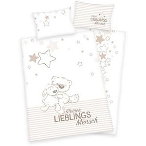 Babybettwäsche Kleiner Lieblingsmensch - Baby-Bettwäsche-Set von Herding, 100x135 & 40x60 cm, Baby Best, 100% Baumwolle