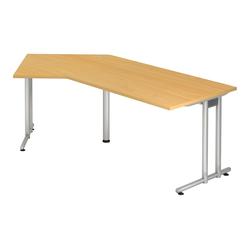 Lüllmann Schreibtisch Freiformtisch Schreibtisch New York 720 x 2100 x 1130/800 mm C-Fuß Design natur