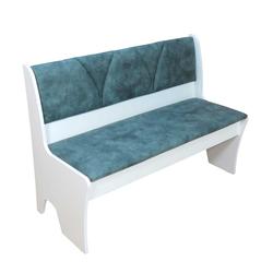 Truhen Polsterbank in Weiß und Blau 120 cm breit