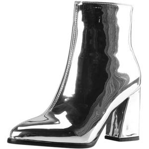 Yowablo Damen Stiefel Spitzspiegel Lackleder Knöchel Party Booties Schuhe (37,Silber)