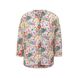 TOM TAILOR Damen Gemusterte Bluse im Loose Fit, weiß, gemustert, Gr.46