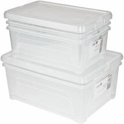 Gies Aufbewahrungsbox Easy (Set, 5 Stück, 3 Boxen ca. l, 2 10 l) farblos Aufbewahrung Ordnung Aufbewahrungsboxen