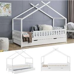 Juskys Kinderbett Tipi mit Bettkasten und Lattenrost   90 x 200 cm   weiß   Dach-Gestell für Himmel