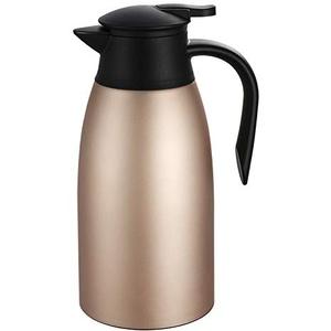 Isolierkanne 2L, Thermoskanne Edelstahl Doppelwandige Vakuumisolierung Kaffeekanne Teekanne Kaffee Topf Thermos für Tee oder Kaffee Druckverschluss hält Getränke 24h Kalt und Warm, Roségold