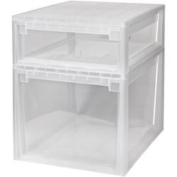 KREHER Aufbewahrungsbox 1x 22 Liter, 1x 50 Liter, mit Schublade 2er Set weiß