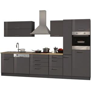 Einbauküche mit Elektrogeräten Küchenzeile mit Geräten 330 cm hochglanz grau