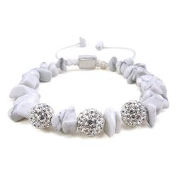 """Vivance Armband """"Glamour Shamballa"""" Armband mit Kristallen und Steinen in Makrame eingeflochten, mit Howlith und Zirkonia"""