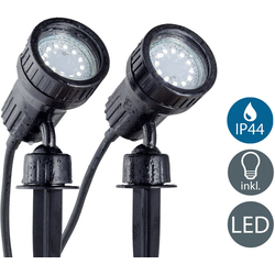 B.K.Licht LED Gartenleuchte Nima 2, LED Gartenstrahler Erdspieß IP44 Außenstrahler Strahler Spießstrahler 2er SET