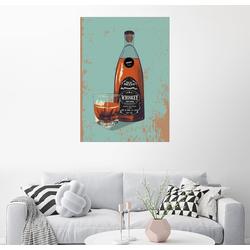 Posterlounge Wandbild, Whiskey Flasche und Glas 100 cm x 130 cm