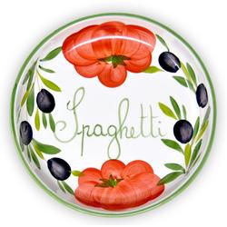 Lashuma Pastateller Tomate Olive, Tiefer Nudelteller, Servierschüssel Ø 22 cm