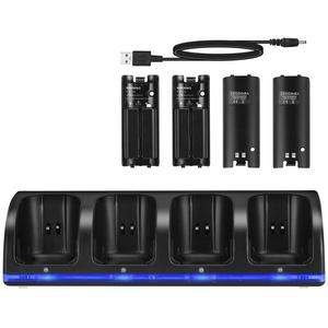 SOONHUA Wii-Ladestation 4 in 1 Wii Controller-Ladestation 4 in 1 mit 4 Wiederaufladbaren Batterien Und LED-Anzeigen für Wii-Fernbedienung - Schwarz