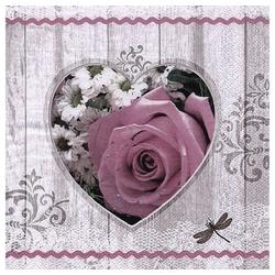 Linoows Papierserviette 20 Servietten Sommer, Herz mit antiker Rose und, Motiv Sommer, Herz mit antiker Rose und Blumen