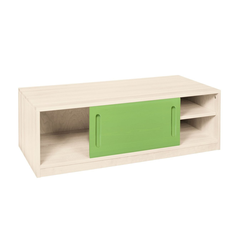 BioKinder - Das gesunde Kinderzimmer Kommode Lina, Bettkommode 120 cm mit Schiebetür, Korpus Weiß grün