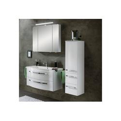 Lomadox Badmöbel-Set FES-4005-66, (Spar-Set, 3-tlg), Möbelset Polarweiß lackiert mit beleuchtetem Waschbecken - B/H/T: 137/200/49,6cm