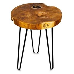 Levandeo® Couchtisch, Beistelltisch Teakholz Tisch Höhe 40cm Metallbeine Holztisch Teak Holz Dreibein