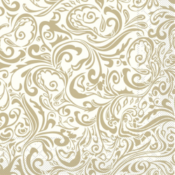 "Mank Tissue Servietten Ornaments ""LIAS"", 40 x 40 cm, 1/4 Falz, 3-lagig, 1 Karton = 6 x 100 Stück = 600 Servietten, champagner-hellbraun"