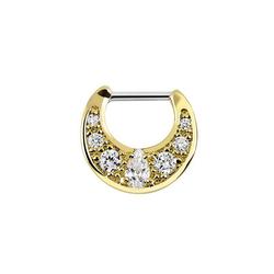 Adelia´s Nasenpiercing Septum Clicker Nasenpiercing Gold beschichtet mit Steinen, Septum Clicker aus Pewter, 18kt. Gold beschichtet