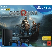 Sony PS4 Slim 1TB schwarz + God of War + 2x DualShock 4 Wireless Controller (Bundle)