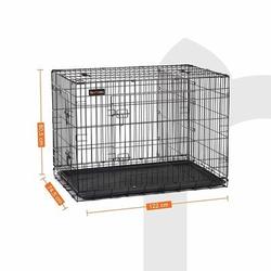 FEANDREA Hundekäfig, Hundebox mit Trennwand, 2 Türen, 122 x 74.5 x 80.5 cm (L x B x H)