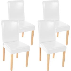 4x Esszimmerstuhl Stuhl Küchenstuhl Littau ~ Kunstleder, weiß helle Beine